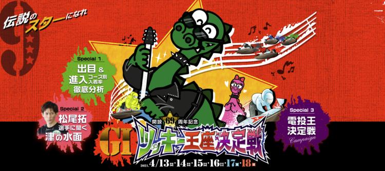 【津競艇予想(4/16)】G1ツッキー王座決定戦(2021)4日目の買い目はコレ!